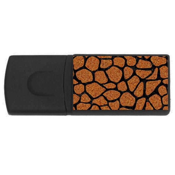 SKIN1 BLACK MARBLE & RUSTED METAL (R) Rectangular USB Flash Drive