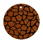 SKIN1 BLACK MARBLE & RUSTED METAL (R) Round Ornament (Two Sides) Front
