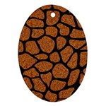 SKIN1 BLACK MARBLE & RUSTED METAL (R) Oval Ornament (Two Sides) Front