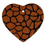 SKIN1 BLACK MARBLE & RUSTED METAL (R) Heart Ornament (Two Sides) Front