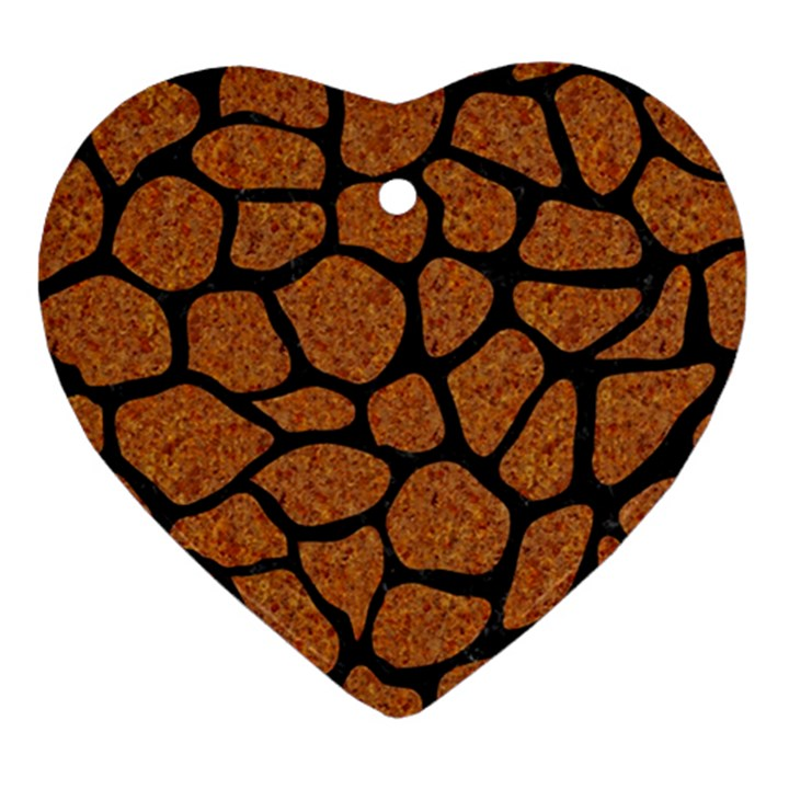 SKIN1 BLACK MARBLE & RUSTED METAL (R) Heart Ornament (Two Sides)