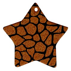 Skin1 Black Marble & Rusted Metal (r) Star Ornament (two Sides)