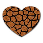 SKIN1 BLACK MARBLE & RUSTED METAL (R) Heart Mousepads Front