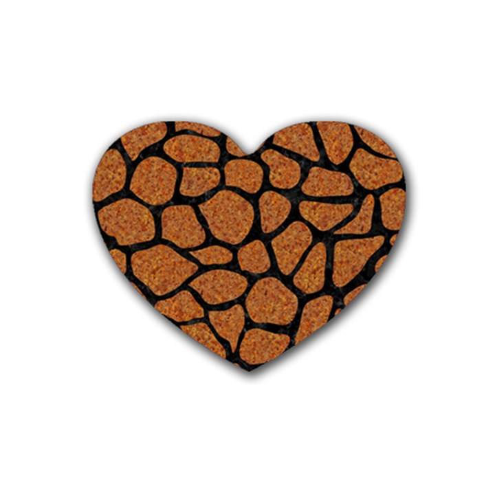 SKIN1 BLACK MARBLE & RUSTED METAL (R) Rubber Coaster (Heart)