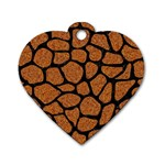 SKIN1 BLACK MARBLE & RUSTED METAL (R) Dog Tag Heart (One Side) Front