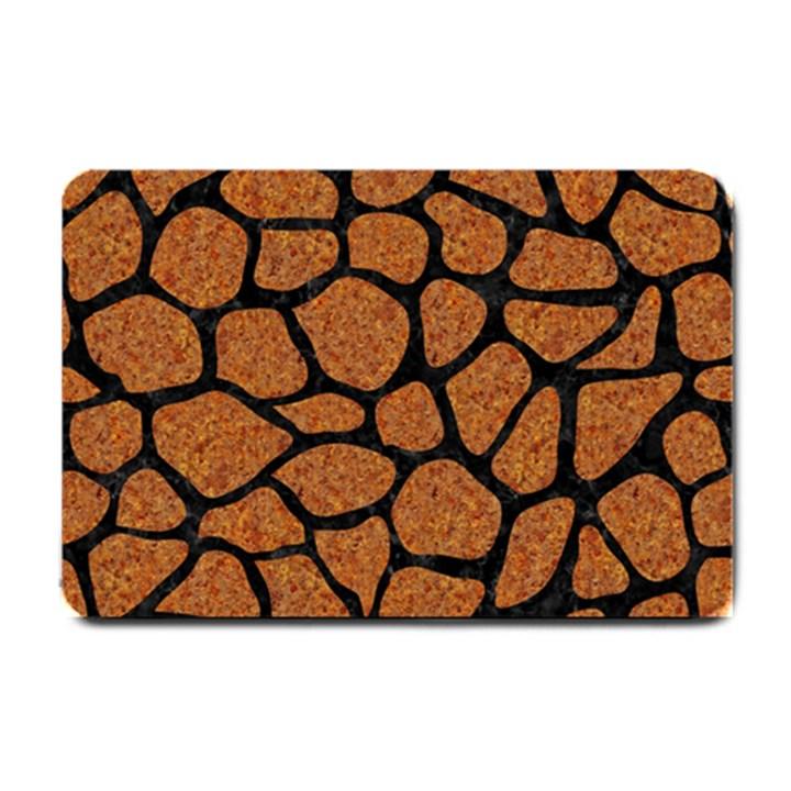 SKIN1 BLACK MARBLE & RUSTED METAL (R) Small Doormat