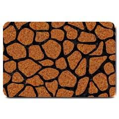 Skin1 Black Marble & Rusted Metal (r) Large Doormat