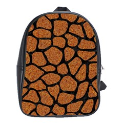Skin1 Black Marble & Rusted Metal (r) School Bag (large)