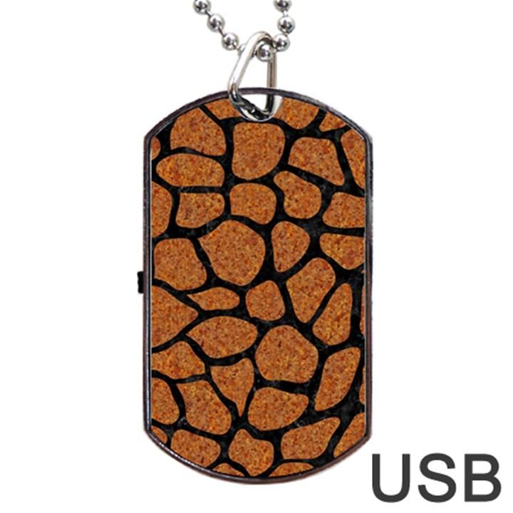 SKIN1 BLACK MARBLE & RUSTED METAL (R) Dog Tag USB Flash (One Side)