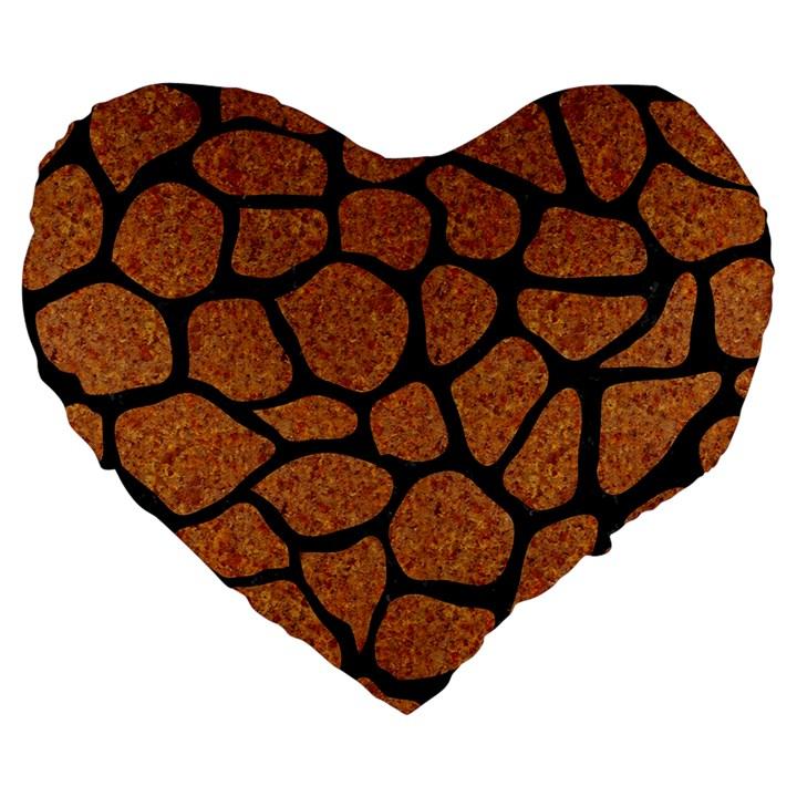 SKIN1 BLACK MARBLE & RUSTED METAL (R) Large 19  Premium Heart Shape Cushions