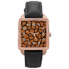 Skin1 Black Marble & Rusted Metal (r) Rose Gold Leather Watch