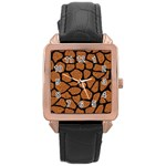 SKIN1 BLACK MARBLE & RUSTED METAL (R) Rose Gold Leather Watch  Front