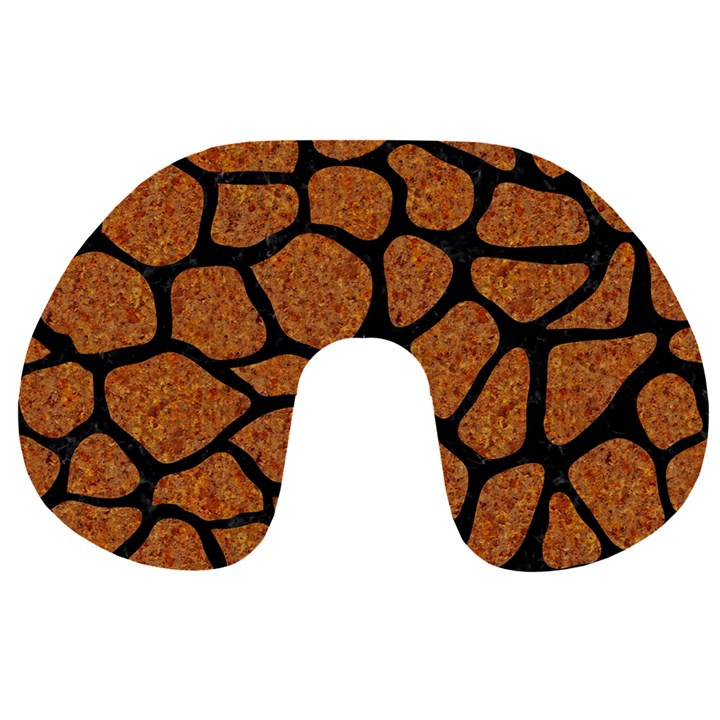 SKIN1 BLACK MARBLE & RUSTED METAL (R) Travel Neck Pillows