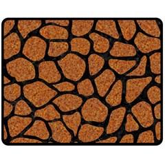 Skin1 Black Marble & Rusted Metal (r) Double Sided Fleece Blanket (medium)