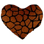 SKIN1 BLACK MARBLE & RUSTED METAL (R) Large 19  Premium Flano Heart Shape Cushions Front