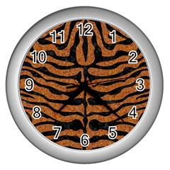 Skin2 Black Marble & Rusted Metal Wall Clocks (silver)