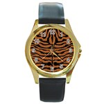 SKIN2 BLACK MARBLE & RUSTED METAL Round Gold Metal Watch Front