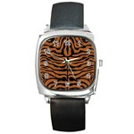 SKIN2 BLACK MARBLE & RUSTED METAL Square Metal Watch Front