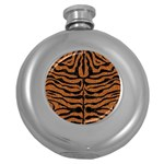 SKIN2 BLACK MARBLE & RUSTED METAL Round Hip Flask (5 oz) Front