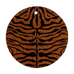 SKIN2 BLACK MARBLE & RUSTED METAL Round Ornament (Two Sides) Back