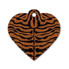Skin2 Black Marble & Rusted Metal Dog Tag Heart (one Side)