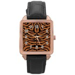 SKIN2 BLACK MARBLE & RUSTED METAL Rose Gold Leather Watch  Front