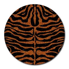 Skin2 Black Marble & Rusted Metal (r) Round Mousepads