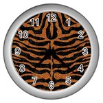SKIN2 BLACK MARBLE & RUSTED METAL (R) Wall Clocks (Silver)  Front