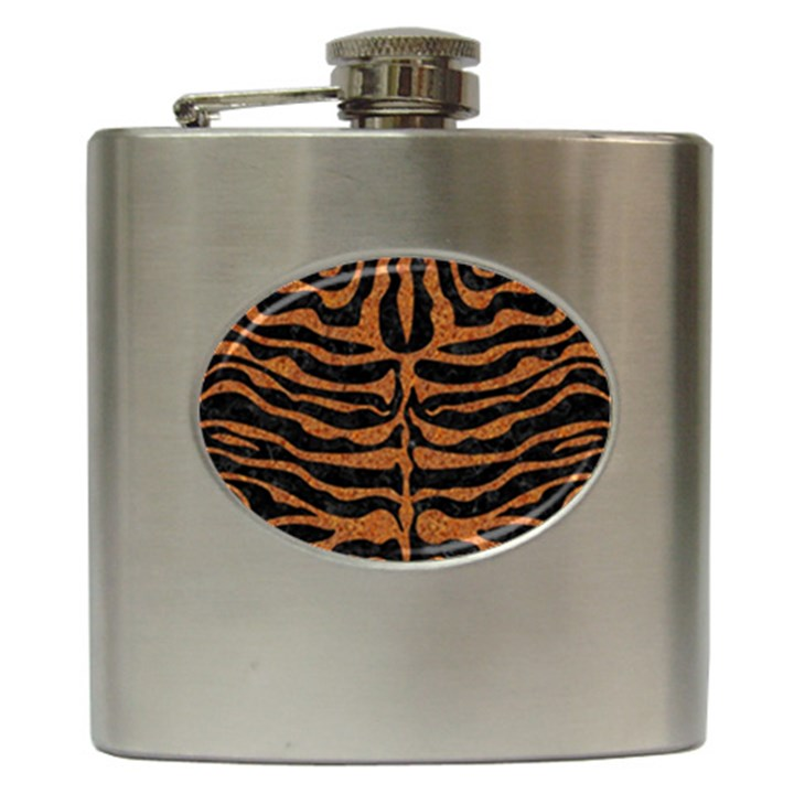 SKIN2 BLACK MARBLE & RUSTED METAL (R) Hip Flask (6 oz)