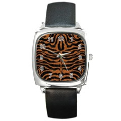 Skin2 Black Marble & Rusted Metal (r) Square Metal Watch