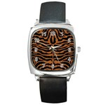 SKIN2 BLACK MARBLE & RUSTED METAL (R) Square Metal Watch Front