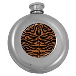 SKIN2 BLACK MARBLE & RUSTED METAL (R) Round Hip Flask (5 oz) Front