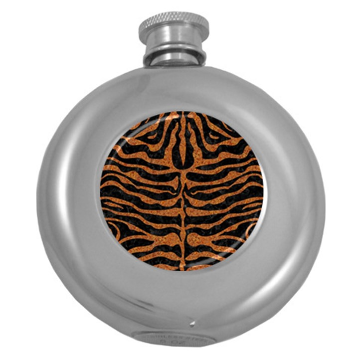 SKIN2 BLACK MARBLE & RUSTED METAL (R) Round Hip Flask (5 oz)