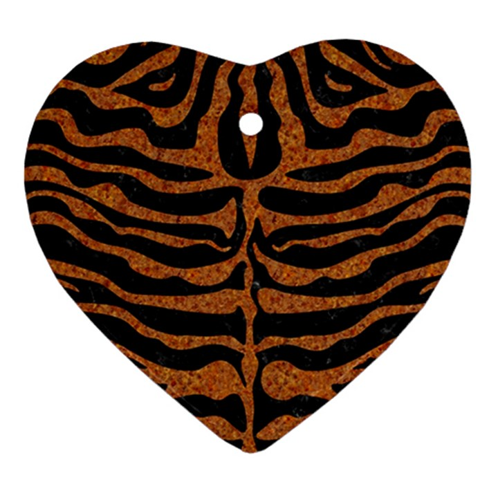 SKIN2 BLACK MARBLE & RUSTED METAL (R) Heart Ornament (Two Sides)