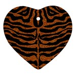SKIN2 BLACK MARBLE & RUSTED METAL (R) Heart Ornament (Two Sides) Back