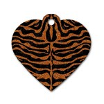 SKIN2 BLACK MARBLE & RUSTED METAL (R) Dog Tag Heart (One Side) Front