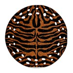SKIN2 BLACK MARBLE & RUSTED METAL (R) Round Filigree Ornament (Two Sides) Front