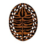 SKIN2 BLACK MARBLE & RUSTED METAL (R) Oval Filigree Ornament (Two Sides) Front