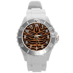 SKIN2 BLACK MARBLE & RUSTED METAL (R) Round Plastic Sport Watch (L) Front