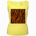 SKIN3 BLACK MARBLE & RUSTED METAL Women s Yellow Tank Top Front