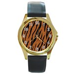SKIN3 BLACK MARBLE & RUSTED METAL Round Gold Metal Watch Front
