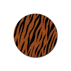 Skin3 Black Marble & Rusted Metal Rubber Round Coaster (4 Pack)