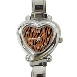 SKIN3 BLACK MARBLE & RUSTED METAL Heart Italian Charm Watch Front
