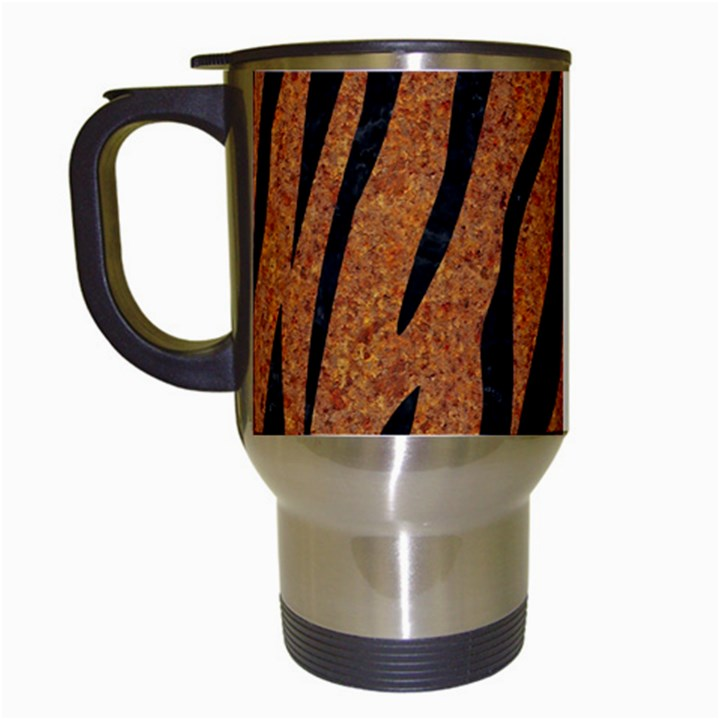 SKIN3 BLACK MARBLE & RUSTED METAL Travel Mugs (White)