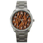 SKIN3 BLACK MARBLE & RUSTED METAL Sport Metal Watch Front