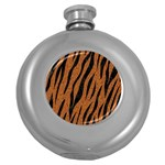 SKIN3 BLACK MARBLE & RUSTED METAL Round Hip Flask (5 oz) Front