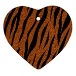 SKIN3 BLACK MARBLE & RUSTED METAL Heart Ornament (Two Sides) Front
