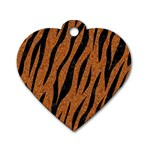 SKIN3 BLACK MARBLE & RUSTED METAL Dog Tag Heart (One Side) Front