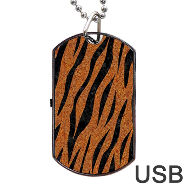 SKIN3 BLACK MARBLE & RUSTED METAL Dog Tag USB Flash (One Side)