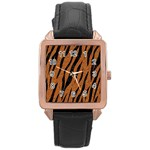 SKIN3 BLACK MARBLE & RUSTED METAL Rose Gold Leather Watch  Front